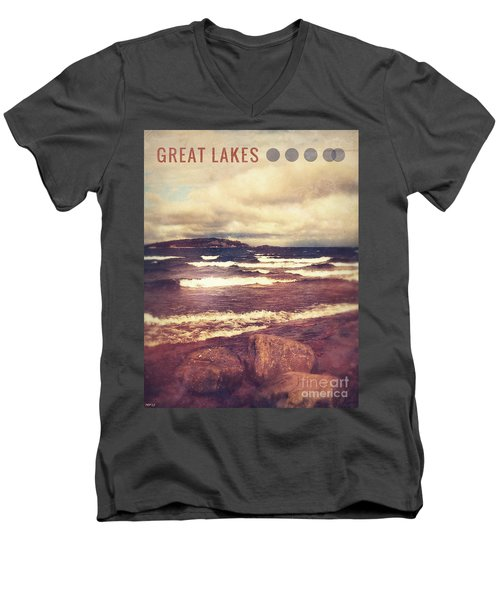 Men's V-Neck T-Shirt featuring the photograph Great Lakes by Phil Perkins