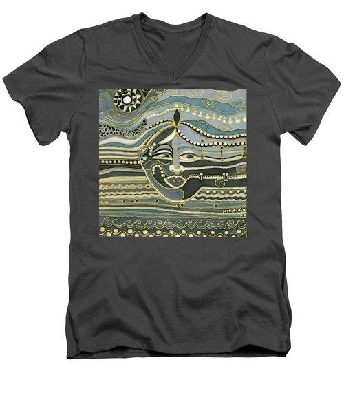 Green Maya Men's V-Neck T-Shirt by Rachel Hershkovitz