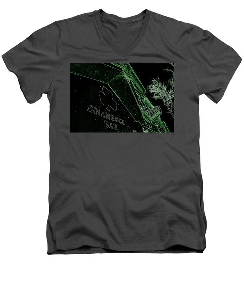 Men's V-Neck T-Shirt featuring the photograph Green Night by Zafer Gurel