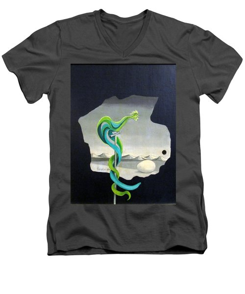 Green Rooster Call 2 In Surrealistic Frame Background Blue Tail Feathers Mountains Landscape And Egg Men's V-Neck T-Shirt by Rachel Hershkovitz