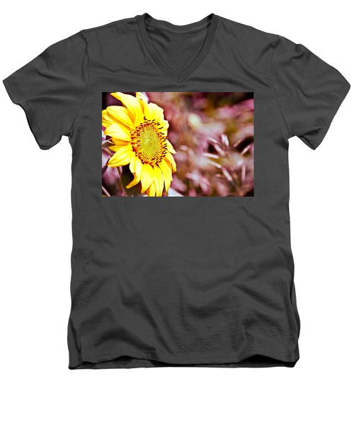 Men's V-Neck T-Shirt featuring the photograph Greeting The Sun. by Cheryl Baxter
