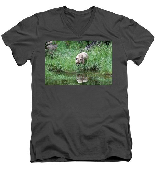 Grizzly Bear And Reflection On Prince Rupert Island Canada 2209 Men's V-Neck T-Shirt by Michael Bessler