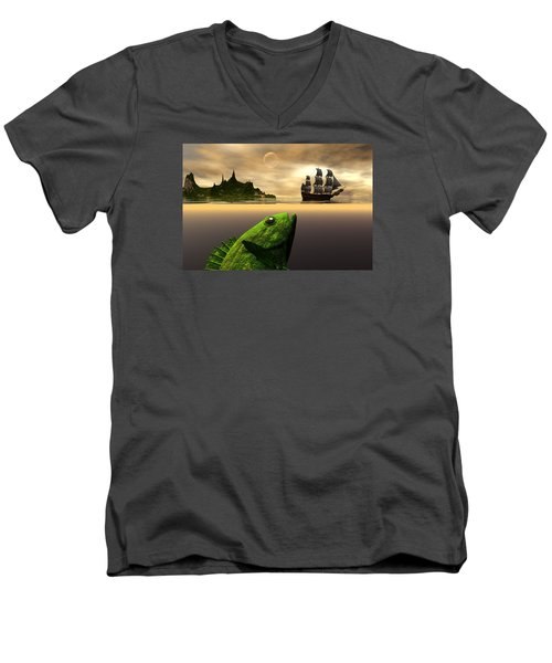 Men's V-Neck T-Shirt featuring the digital art Gustatory Anticipation by Claude McCoy