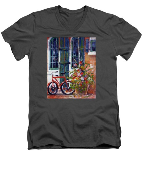Habersham Bike Shop Men's V-Neck T-Shirt by Gertrude Palmer