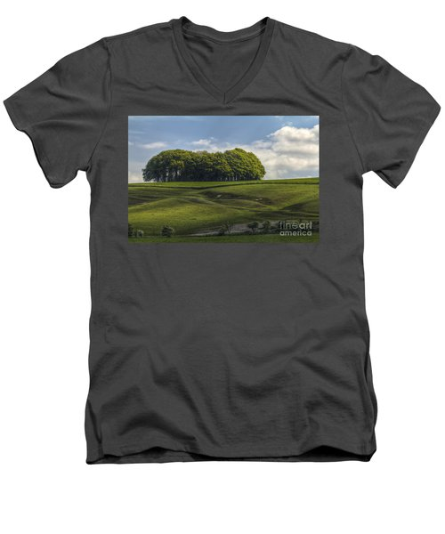 Men's V-Neck T-Shirt featuring the photograph Hackpen Hill by Clare Bambers