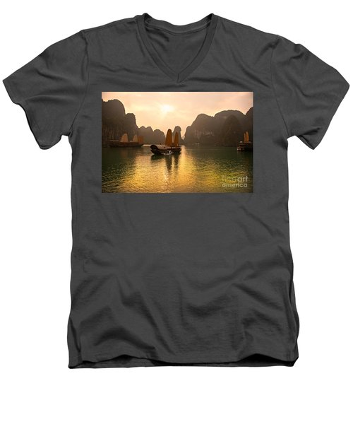 Men's V-Neck T-Shirt featuring the photograph Halong Bay - Vietnam by Luciano Mortula