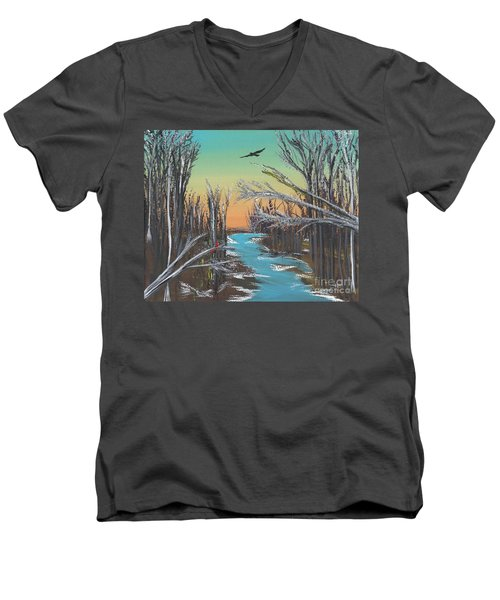 Men's V-Neck T-Shirt featuring the painting Happy Day by Alys Caviness-Gober
