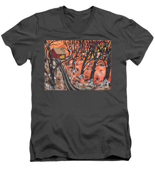 Men's V-Neck T-Shirt featuring the painting Hazy Shade Of Winter by Jeffrey Koss