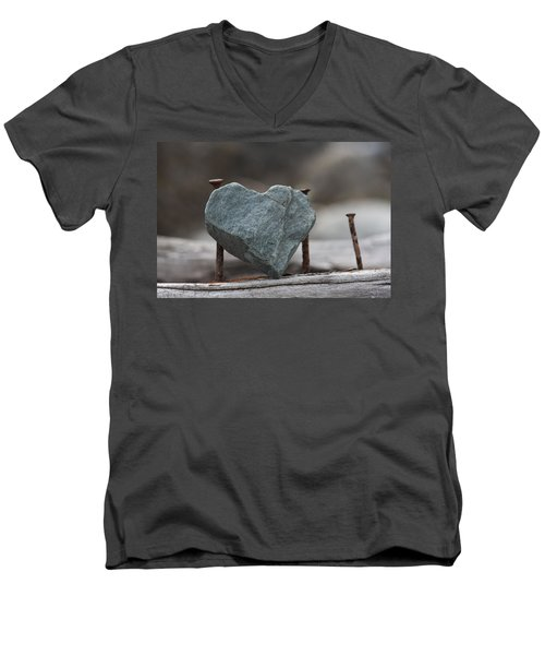 Heart Of Stone Men's V-Neck T-Shirt by Cathie Douglas