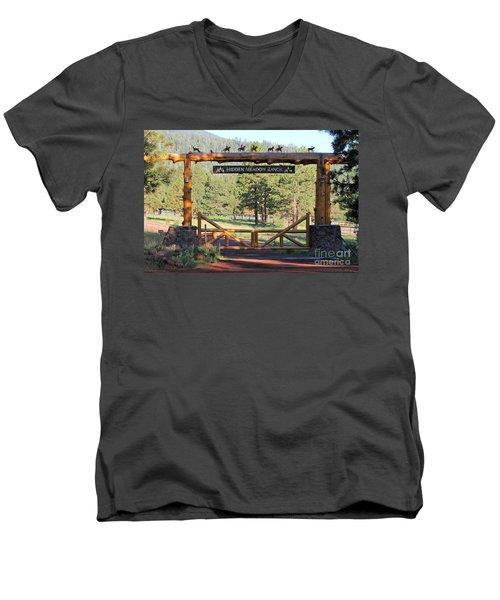 Hidden Meadow Ranch Men's V-Neck T-Shirt by Pamela Walrath