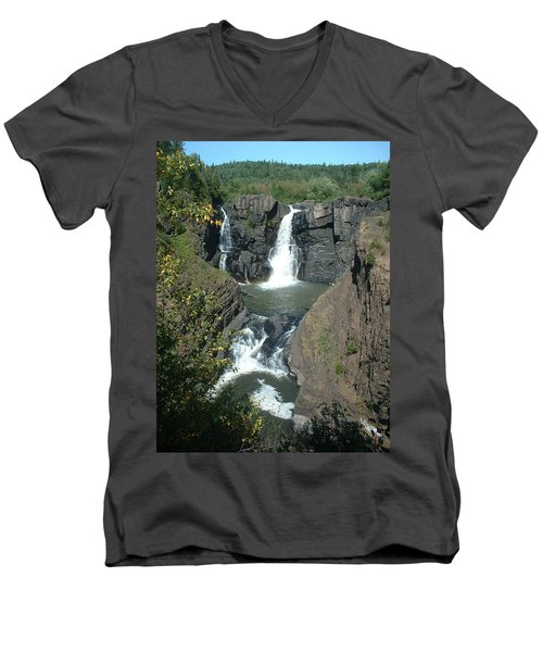 Men's V-Neck T-Shirt featuring the photograph High Falls Grand Portage by Bonfire Photography