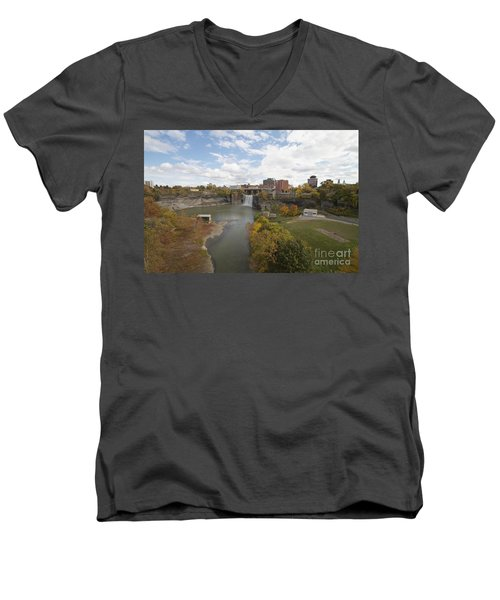Men's V-Neck T-Shirt featuring the photograph High Falls by William Norton
