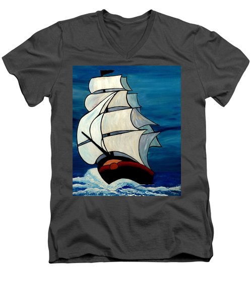 Men's V-Neck T-Shirt featuring the painting High Sea by Cynthia Amaral