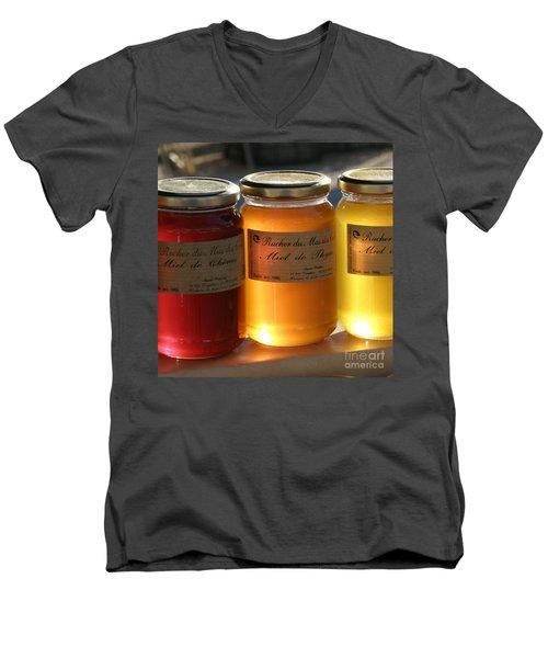 Honey Men's V-Neck T-Shirt by Lainie Wrightson
