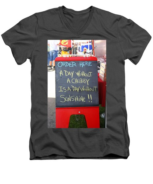 Men's V-Neck T-Shirt featuring the photograph Hot Dog Stand Humor by Kay Novy