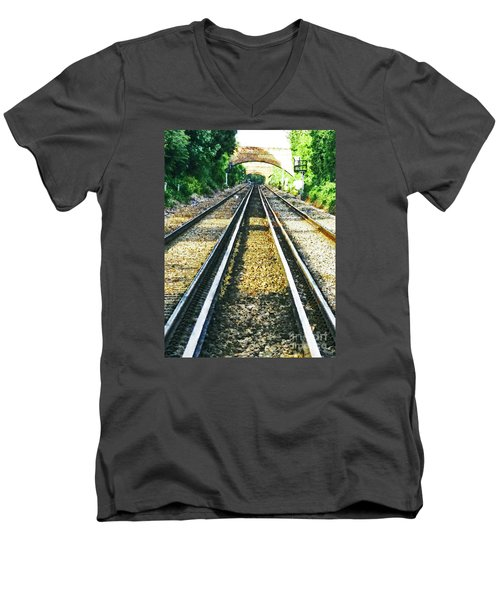 Men's V-Neck T-Shirt featuring the photograph How Come They Never Go Up The Middle by Steve Taylor