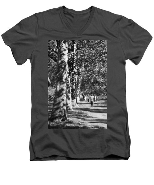 Men's V-Neck T-Shirt featuring the photograph Hyde Park Trees by Maj Seda