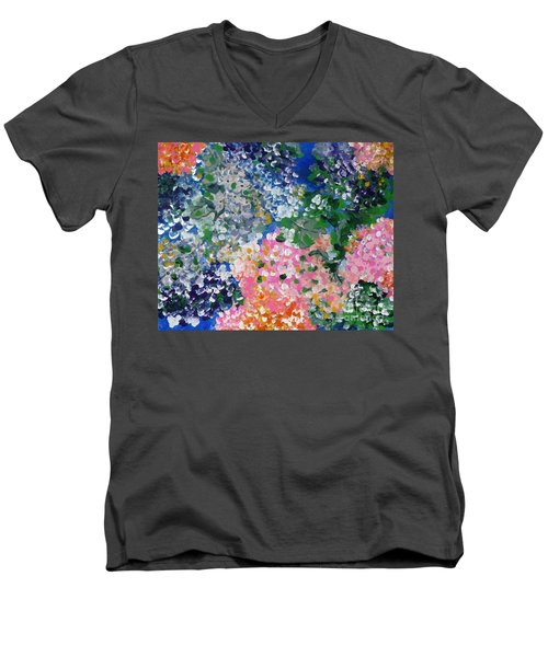Men's V-Neck T-Shirt featuring the painting Hydrangeas I by Alys Caviness-Gober