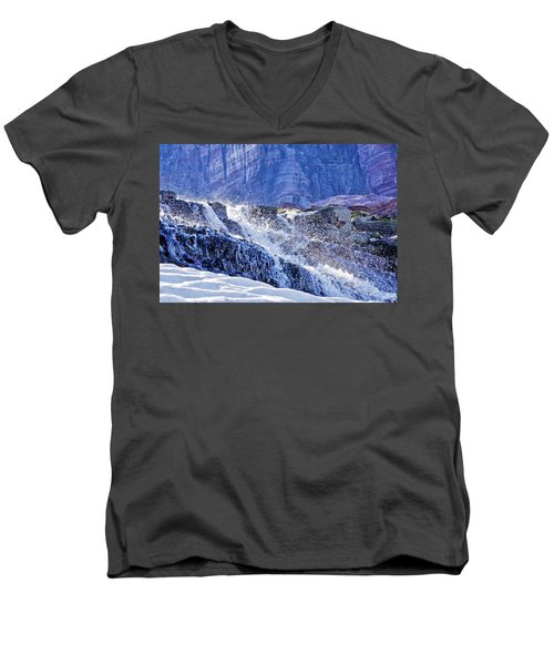 Men's V-Neck T-Shirt featuring the photograph Icy Cascade by Albert Seger