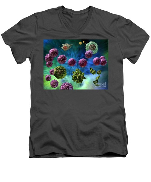 Men's V-Neck T-Shirt featuring the digital art Immune Response Cytotoxic 1 by Russell Kightley