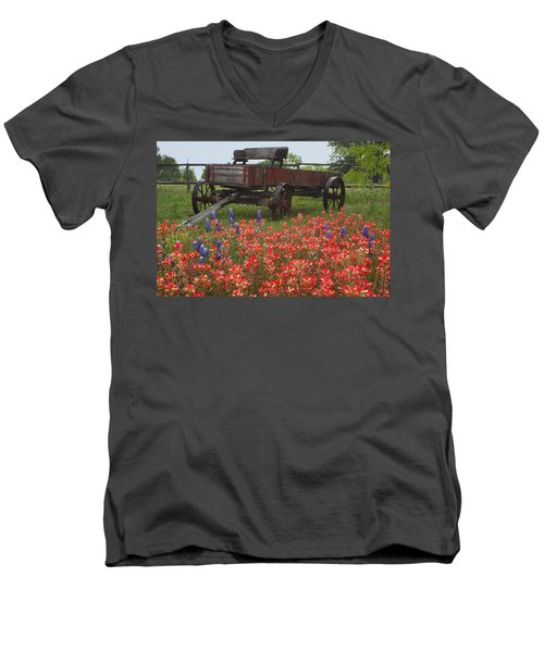 Indian Paintbrush And Wagon Men's V-Neck T-Shirt