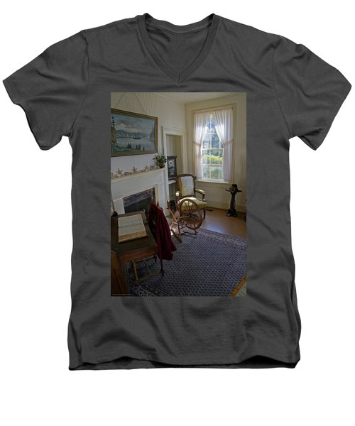 Men's V-Neck T-Shirt featuring the photograph Inside Yaquina Bay Lighthouse by Mick Anderson