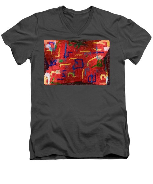 Men's V-Neck T-Shirt featuring the digital art Italian Pillow by Alec Drake