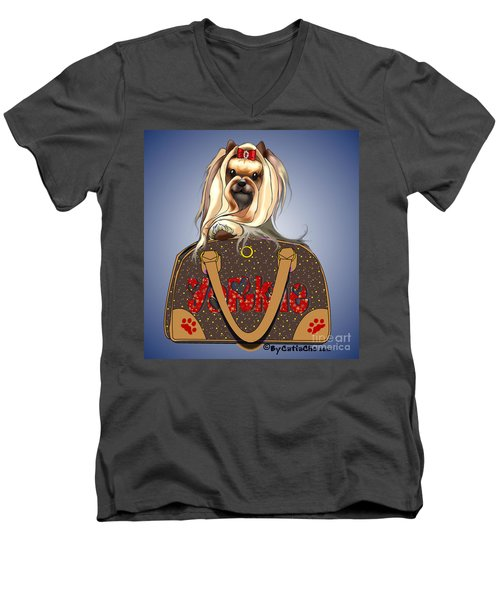 It's A Yorkie In A Bag  Men's V-Neck T-Shirt