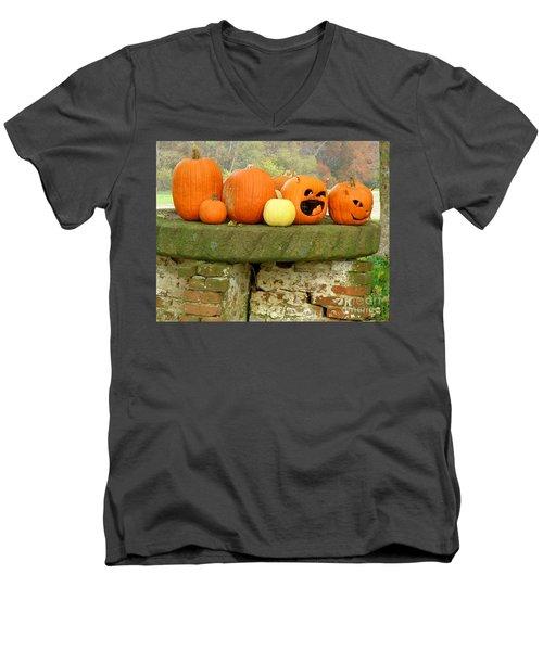 Jack-0-lanterns Men's V-Neck T-Shirt by Lainie Wrightson