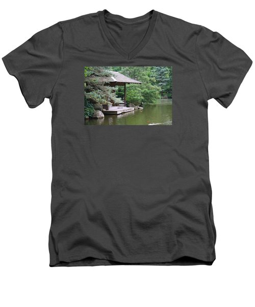 Men's V-Neck T-Shirt featuring the photograph Japanese Tea House by Bruce Bley