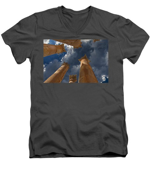 Men's V-Neck T-Shirt featuring the photograph Jerash by David Gleeson