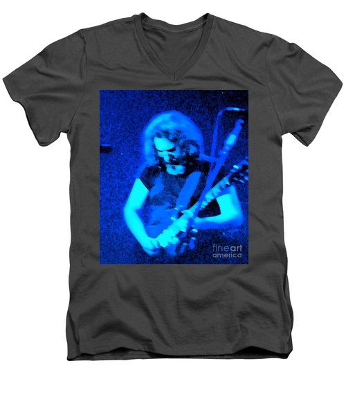Men's V-Neck T-Shirt featuring the photograph The Man In Blue by Susan Carella