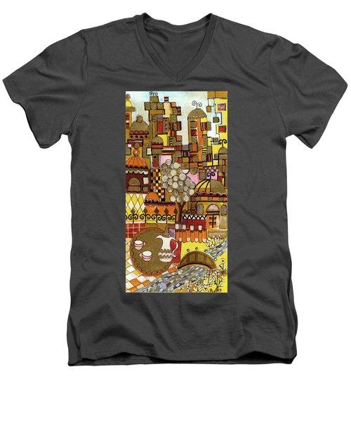Jerusalem Alleys Tall 5  In Red Yellow Brown Orange Green And White Abstract Skyline Landscape   Men's V-Neck T-Shirt by Rachel Hershkovitz
