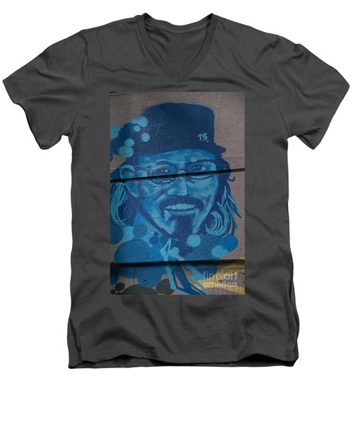 Johnny On The Wall Men's V-Neck T-Shirt by Carol Ailles