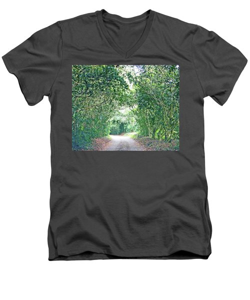 Men's V-Neck T-Shirt featuring the photograph Jungle Drive Avery Island La by Lizi Beard-Ward