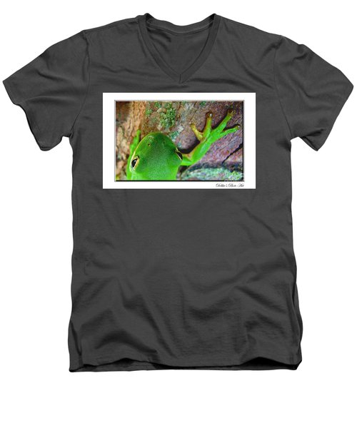 Men's V-Neck T-Shirt featuring the photograph Kermit's Kuzin by Debbie Portwood