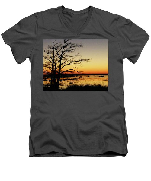 Men's V-Neck T-Shirt featuring the photograph Lacassine Sunset by Lizi Beard-Ward