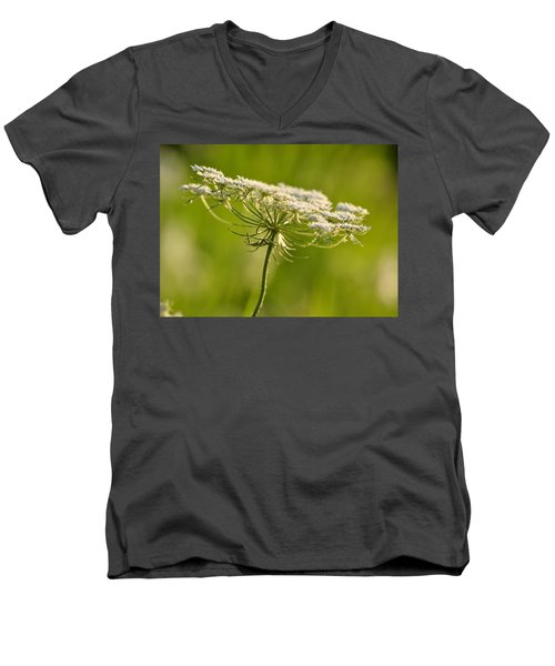 Lacy White Flower Men's V-Neck T-Shirt