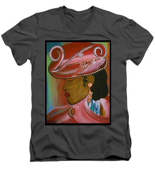 Lady In Pink Men's V-Neck T-Shirt by Kelly Turner