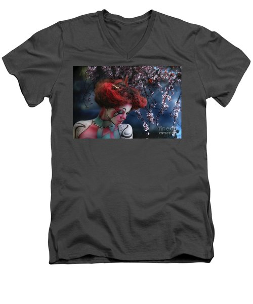 Men's V-Neck T-Shirt featuring the digital art Lady Spring Silence by Rosa Cobos