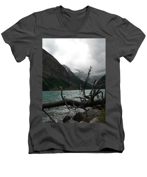 Men's V-Neck T-Shirt featuring the photograph Lake Louise by Laurel Best