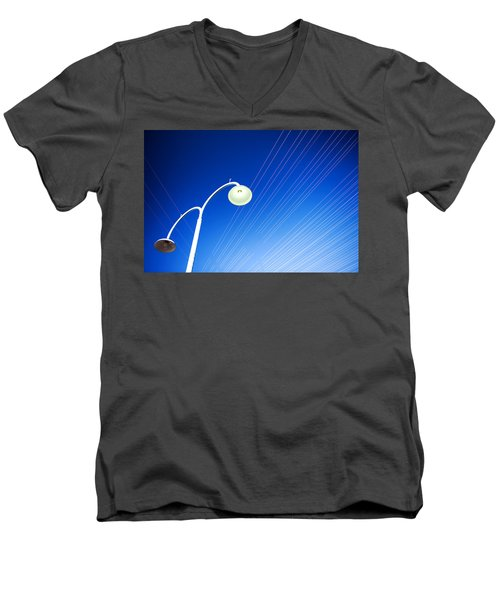 Men's V-Neck T-Shirt featuring the photograph Lamp Post And Cables by Yew Kwang