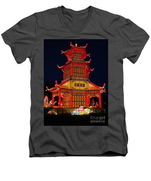 Lantern Lights Men's V-Neck T-Shirt by Vivian Christopher