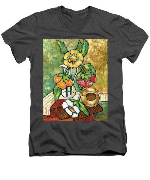 Large Flowers Men's V-Neck T-Shirt by Rachel Hershkovitz