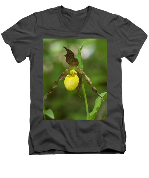 Large Yellow Lady Slipper Orchid Dspf0251 Men's V-Neck T-Shirt