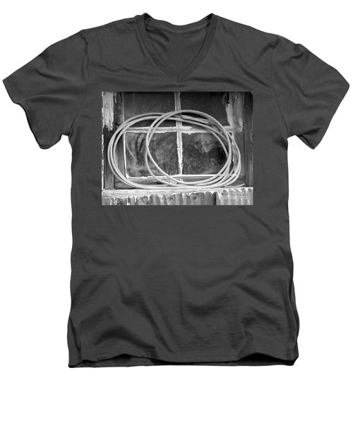 Men's V-Neck T-Shirt featuring the photograph Lasso In The Window  by Deniece Platt