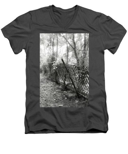Men's V-Neck T-Shirt featuring the photograph Leaning Fence by Mary Almond