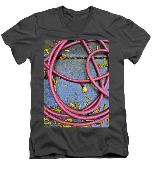 Men's V-Neck T-Shirt featuring the photograph Leaves And Hose by Bill Owen