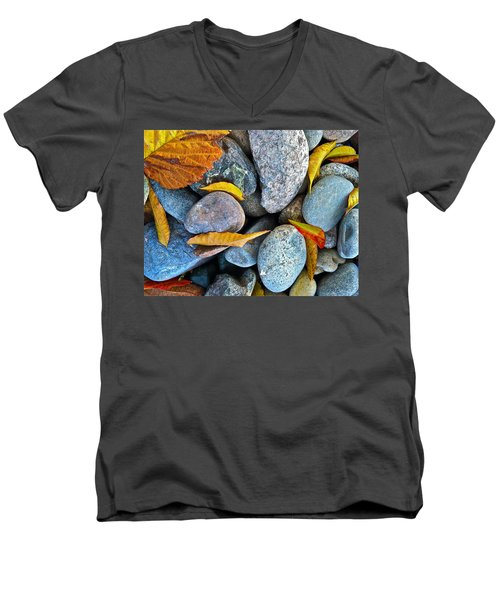 Men's V-Neck T-Shirt featuring the photograph Leaves And Rocks by Bill Owen