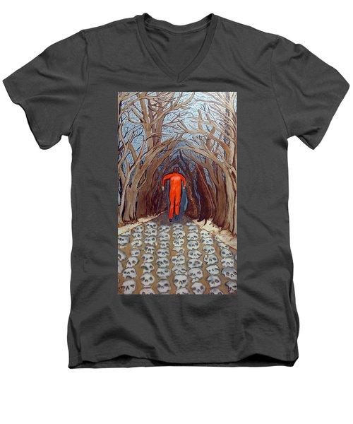 Men's V-Neck T-Shirt featuring the painting Leaving Eden by Lisa Brandel